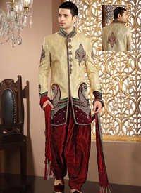 Charming Gold Banarasi Silk Sherwani