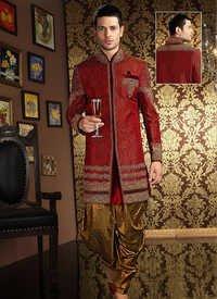 Maroon Banarasi Silk Sherwani