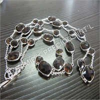 Rhodium Plated Gemstone Necklace