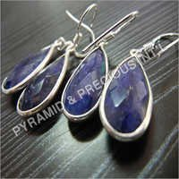 Sterling Silver Gemstone Bezel Earring