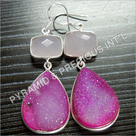 Druzy Bezel Silver Earrings