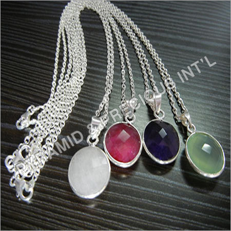 Silver Plated Gemstone Necklace