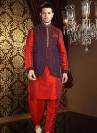 Art Silk Jacket Style Kurta