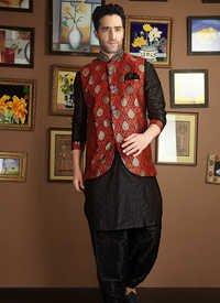 Black Jacket Style Kurta Payjama