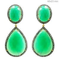 Chrysoprase Diamond Gold Earrings