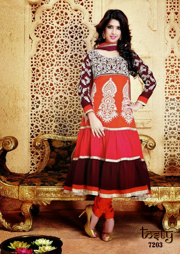 Embroidered Anarkali Dress Material