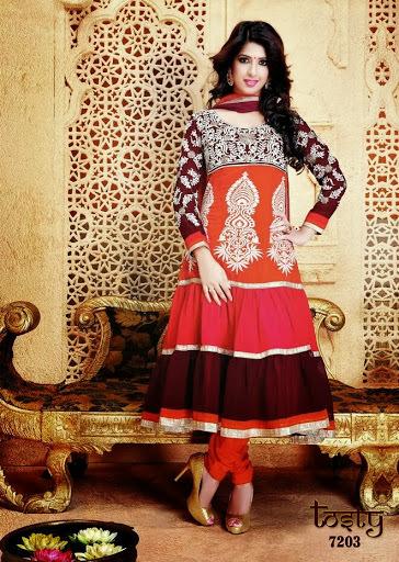 Embroidered Anarkali Dress Material