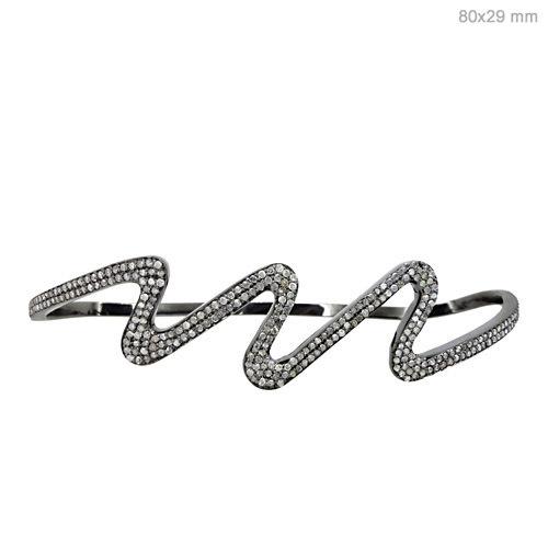 925 Sterling Silver Diamond Palm Bracelet