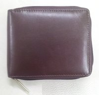 Genuine Leather Round-zip Wallet