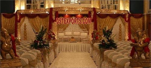 Wedding Golden Carved Fiber Mandap Set