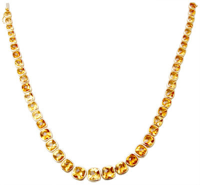 lovely design citrine gold neck chain for womens, Single line pointers gemstone gold necklace design