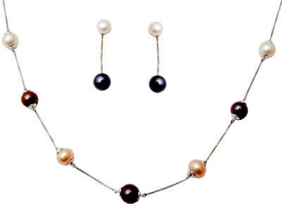 Diamond Jewelry Set With Pearls