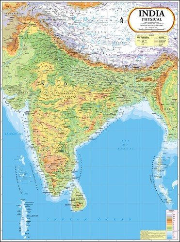 India Physical Map Dimensions: 70 X 100  Centimeter (Cm)