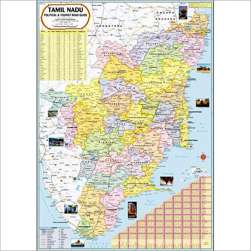 Tamil Nadu Political Map Dimensions: 70 X 100  Centimeter (Cm)