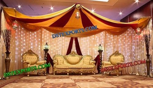 WEDDING GOLDEN TEAKWOOD SOFA SET