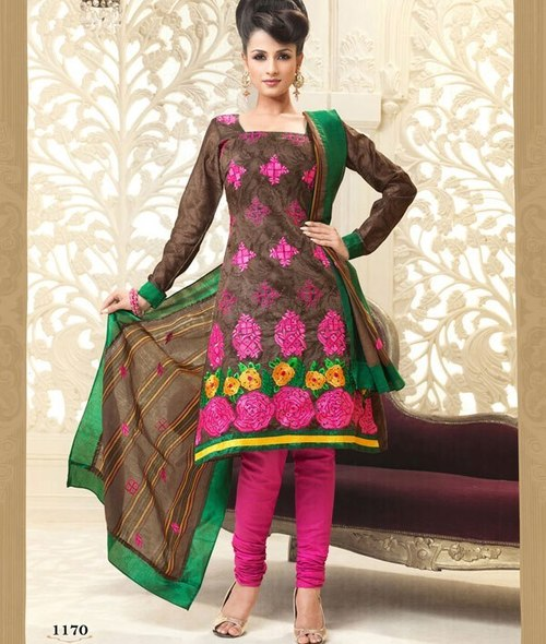 Fashionable Dress Material On Cotton