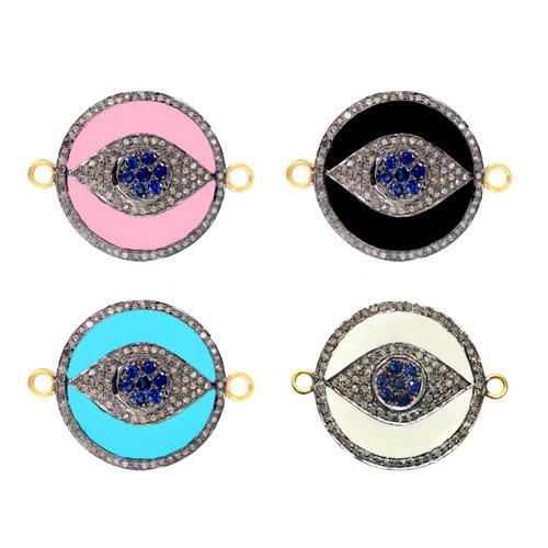Enamel Diamond Gemstone Connector Jewelry