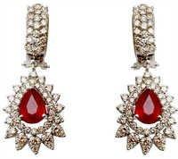 Hanging Design Ruby Diamond Earring Set