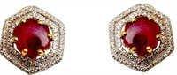 Diamond & Ruby Flats Gold Earring Set