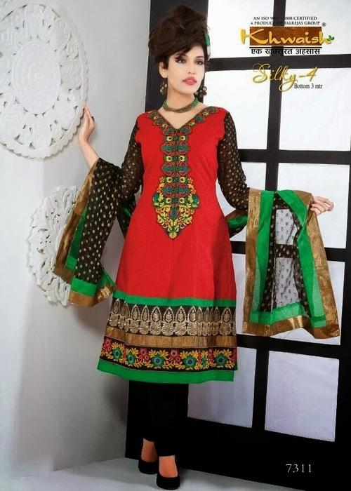 Latest  Kalidar Kameez On Chanderi Silk Fabrics