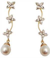 Latest Design Flower Gold Diamond Earring