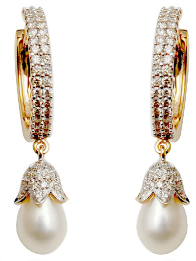 Diamond Pearl Earrings For Lady