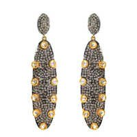 Pave Diamond Gold Earrings Jewelry