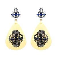 Blue Sapphire Bakelite Diamond Gold Earrings