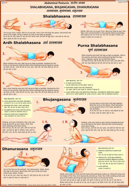 Shalbhasana, Bhujangasana, Dhanurasana Chart