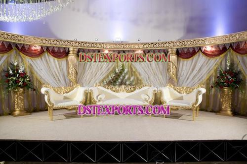 WEDDING GOLD CRYSTAL STAGE SET