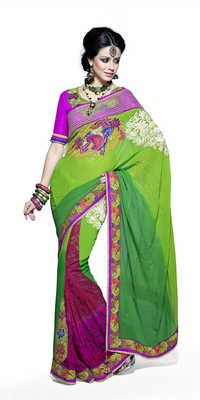 Designer Patch Border Multi Colour Saree