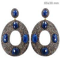 Blue Sapphire Diamond Gold Earrings
