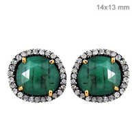 Gold Diamond Emerald Earrings