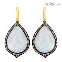 Moonstone Diamond Gold Earrings