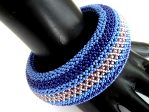 Blue Beaded Bangle