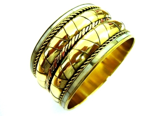 Gold Pleated Metal Bangles