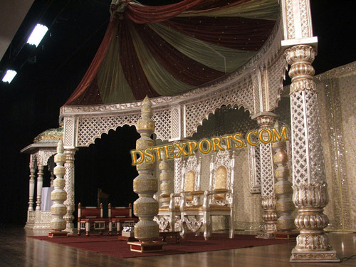 Indian Wedding Silver Golden Stage