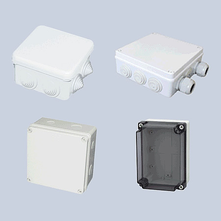 Waterproof junction box with and without connectors
