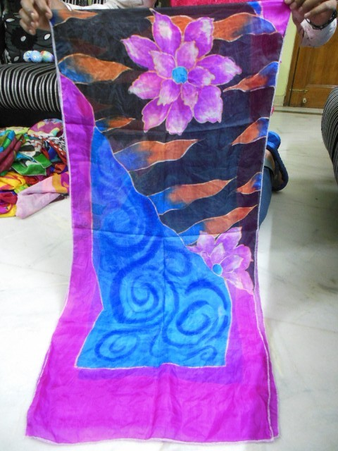 Hand Brush Paintings In Silk Scarfs