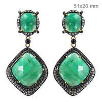 Pave Diamond Emerald Gold Earrings