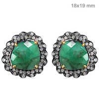 Emerald Pave Diamond Gold Earrings