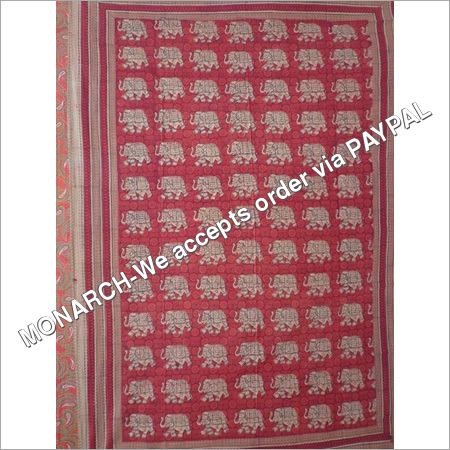 RED ELEPHANT BAGRU PRINTED SINGLE BED SHEET