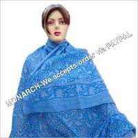 Blue Flowery Hand Block Print Sarong