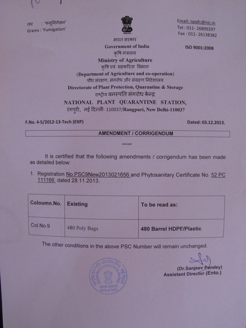 Phytosanitary Certificate For Poly Bags In New Delhi India