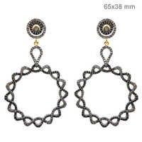 Pave Diamond Gold Earrings Jewelry