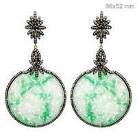 Jade Carving Diamond Earrings