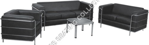 Black Leather Living Room Sofa Set