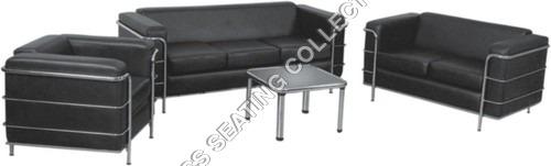 Black Leather Living Room Sofa Set