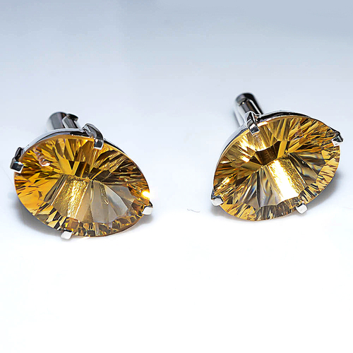 925 Sterling  Silver Golden Topaz Men's Cufflink