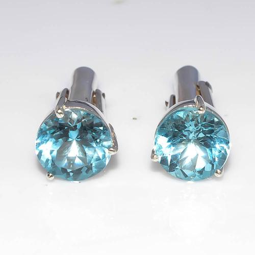 925 Sterling Silver Blue Topaz Gemstone Men's Cufflink's